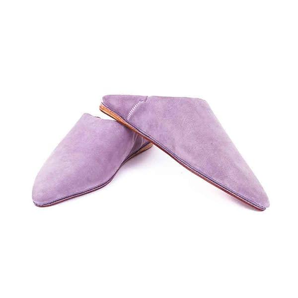 babouche en cuir daim simple violet orchidé