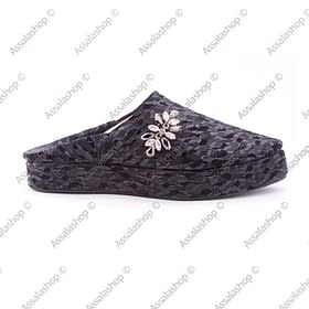 black pearl leather wedge babouche